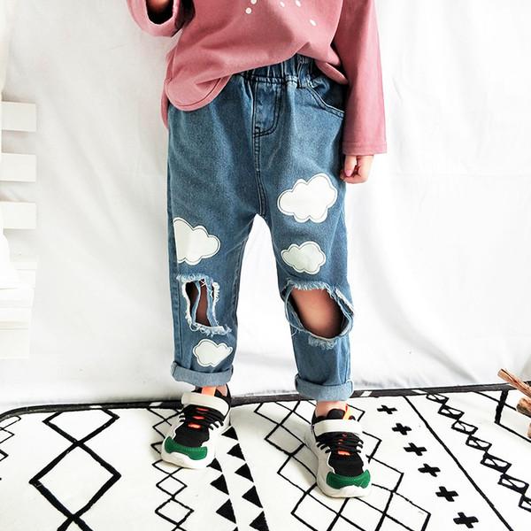 mode 2018 filles garçons trous pantalons en denim enfants fille jean pantalon pantalon bébé