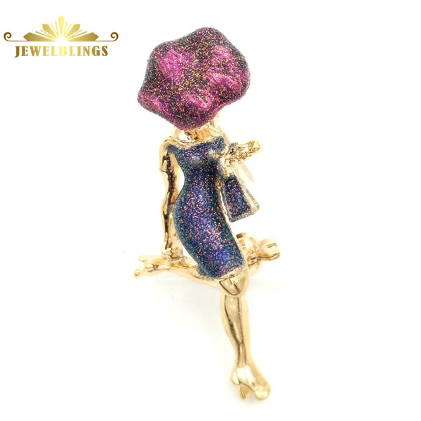 Vintage Art Deco Fashion Lady Brooches Pin Gold Tone Red Big Hat and Blue Tight Short Skirt Enamel Lady Broach for Women Jewelry