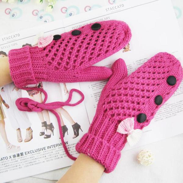Famale de moda de doble capa de cachemira más gruesa de lana de terciopelo halter mitones mujeres invierno cálido lindo botón pajarita guantes Guantes L91