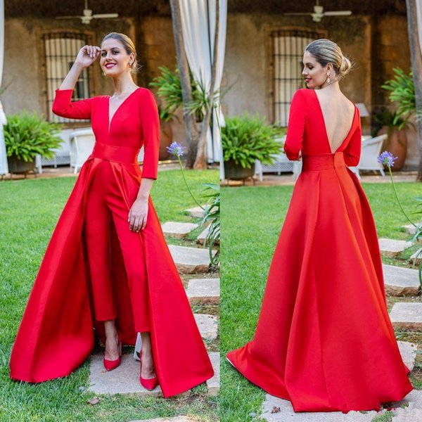 Krikor Jabotian Red Jumpsuits Formal Evening Dresses With Detachable Skirt V Neck Prom Dresses Party Wear Pants for Women Custom Made