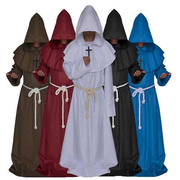 Monk Hooded Robes Mantello Cape Friar Medievale Rinascimentale Priest Costume Cosplay Costume di Halloween per donna uomo D05760