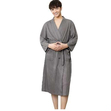 Hommes D'été Robe De Coton Chinois Vêtements De Nuit Solide Vêtements De Nuit Mâle Chemise De Nuit Spa Accueil Robe Kimono Peignoir Robe Plus La Taille M XL 3XL