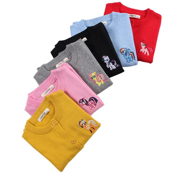 new Brand 2018 Autumn Baby Girls Sweaters Cartoon Horse Kids Knitting Cardigan Warm jacket children sweater Girl Costumes