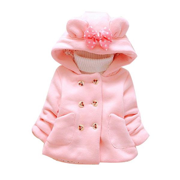 Inverno Baby Plus Velluto di velluto Neonate Abbigliamento da neve Infantile Cappotto capispalla Cappotto doppio petto Arco Abbigliamento