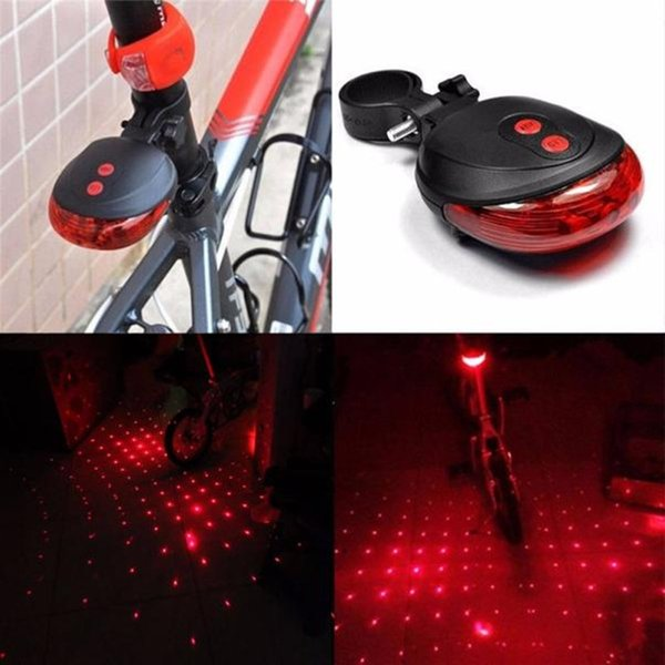 High Quality bicycle laser lights LED Flashing Lamp Tail Light Rear Cycling Bicycle Bike Safety Warning 5 red Led light modes#30