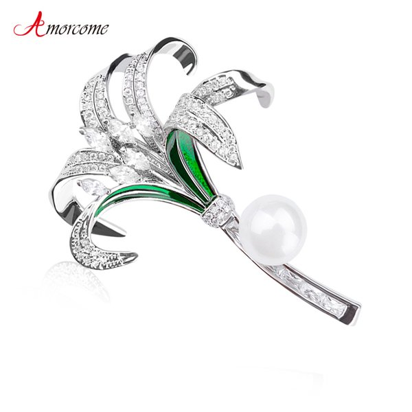 wholesale Luxury Zircon Lily Flower Brooches For Women Clothes Collar Pin CZ Stone Elegant Party Wedding Enamel Brooch Jewelry