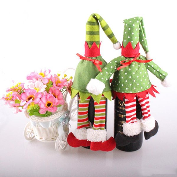 Hot Sale 2PCS Xmas Christmas Elf Red Wine Bottle Sets Cover with Christmas Hat & Clothes for Christmas Dinner Decoration Home Halloween Gift