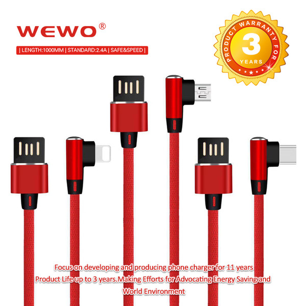 Safe Fast Charging Type-C Micro USB Cable 90 degree Metal Plug Nylon Braided Data line Samsung High Speed Cell Phone Cables with Retail-Box