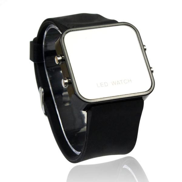 Reloj digital LED hombres mujeres Deportes casual relojes de pulsera Calendario Fecha de reloj de silicona Mirror Faceless Hombres Ladies reloj de pulsera reloj