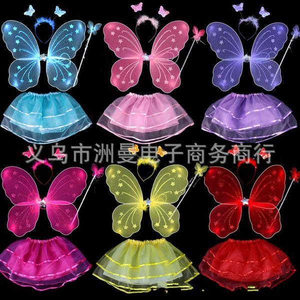 Disfraz de traje de rendimiento para niños Butterfly Angel Wing Monolayer Traje de cuatro piezas Color Fairy Wand Magic Bar 7 3zm Ww