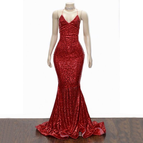 Bling Bling Mermaid Red Sequined Evening Dresses V Neck Criss Cross Strap Plus Size Evening Wear Sleeveless Sweep Train Party Gowns