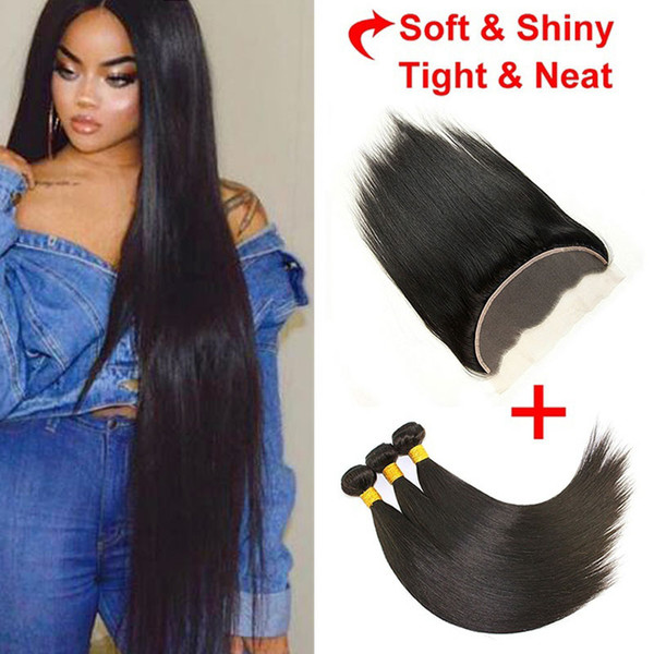 Brazilian Virgin Hair Straight with lace Frontal 4 Pcs Ear to Ear Lace Frontal straight Virgin Hair 13x4 Frontal With 3 Bundles Deals