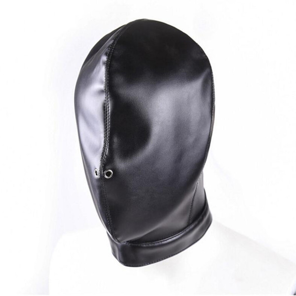 PU Leather Hood Masks Adult Game Products Fetish Full Cover Head Bondage Restraints Blindfold Cosplay Slave Sex Toy for Couples