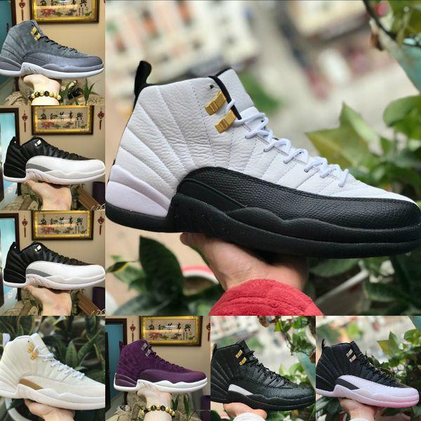 2019 Nike Air Jordan 12 retro jordans Blanc Gym Rouge Foncé Gris Basketball Chaussures nike air jordan 12s Hommes Taxi Bleu Suede Flu Jeu CNY Sneakers Gym rouge taxi gamma Sport