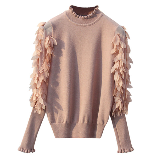 2018 GIGOGOU Ruffled Collar Knitted Women Sweater Spring Autumn Loose Jumper Fashion Flowers Sleeves Sweater and Pullover Femme Pull