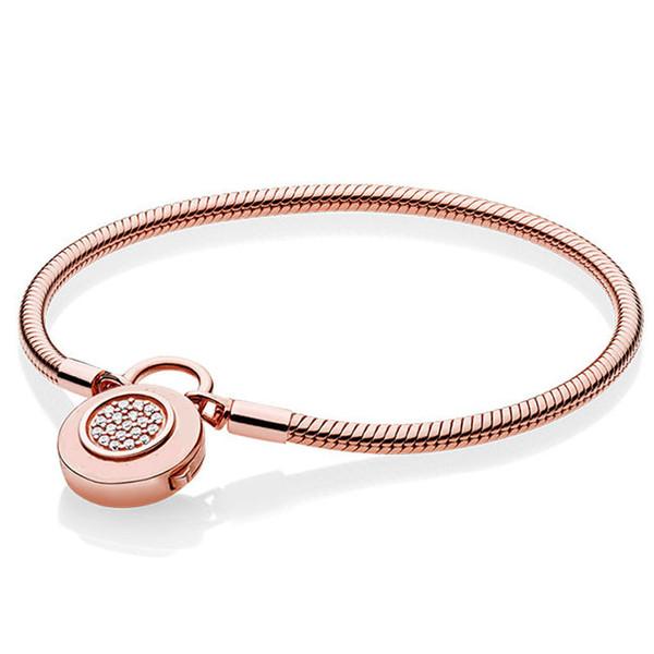 925 Sterling Silver Bracelet Rose Logo Signature Padlock Smooth Snake Bracelet Bangle Fit Bead Charm DIY Europe Jewelry