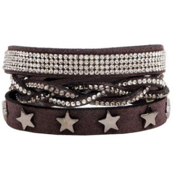High quality suede leather Women BRACELET Crystal cz rhinestone Bangle Pentagon design wrist jewelry lady ornament decoration