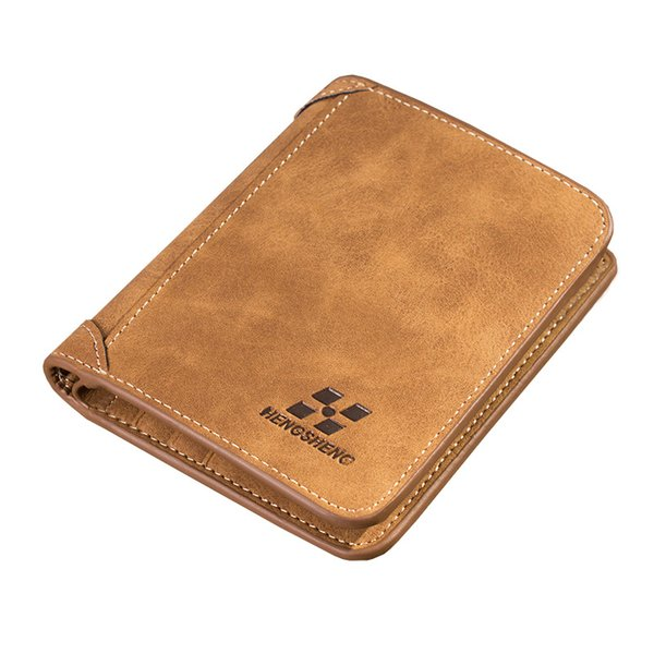 Hot Sale Men's Wallet Short Sanded Leather Retro Vertical Wallet Youth Korean Version Multi-Card Men Wallets No Zipper Purse