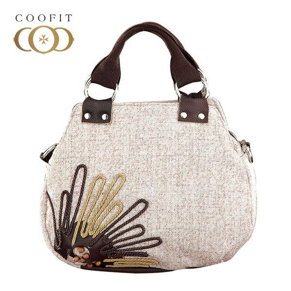 2018 Boho Style Handmade Beaded Flax Crossbody Bag For Girls Women Vintage Weave Design Female Handbag Messenger Bag Ladies Sac