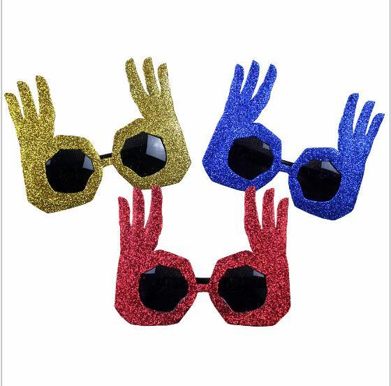 2018 new fashion Bar Party Funny and funny Party glasses Make a weird spectacle OK gestures glasses Fit Adults and children