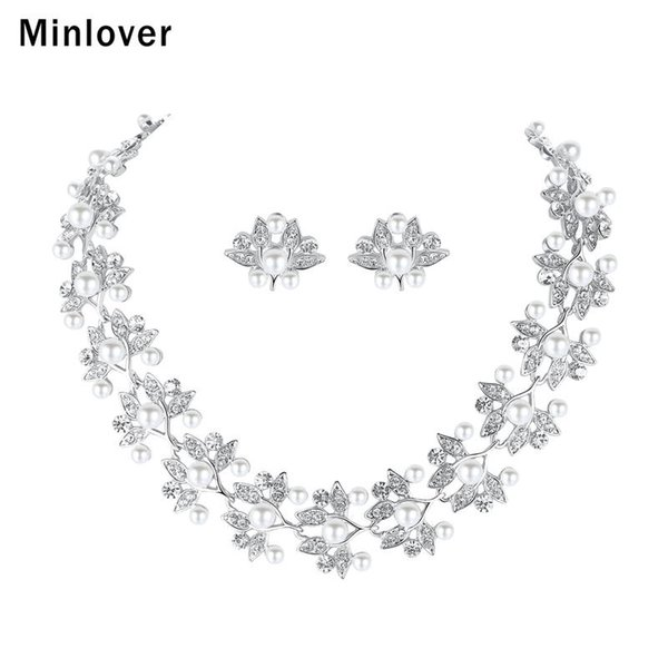 Minlover Flower Simulated Pearl Bridal Jewelry Sets Leaf Shape Silver Color Necklace Sets 2018 Wedding Jewelry for Women MTL512