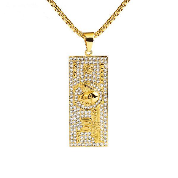 Fashion Men Hip Hop Jewelry Coin Big Pendant Necklace Rhinestone Design 70cm Long Chain For Men Gift