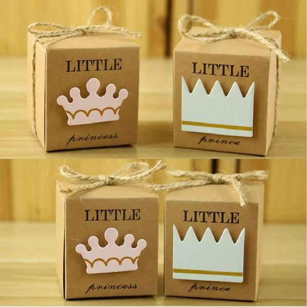 Kare Taç Kraft Kağıt Küçük Prens Prenses Bebek Duş Şeker Kutusu Parti Hediye Kutuları Kız Erkek Çocuklar Doğum Günü Iyilik Kutusu 100 adet / grup