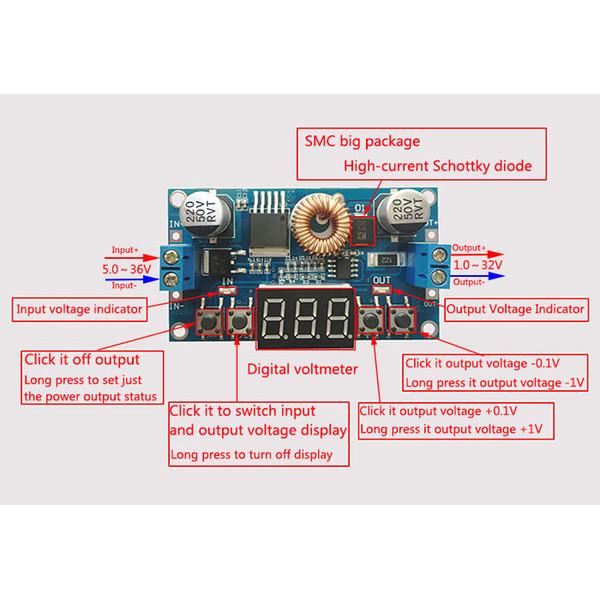 Freeshipping DC Buck Converter DC 4- 38V to 1-36V 5V 12V 19V 24V 5A 75W Adjustable Voltage Regulator/Adapter/ Driver Module + Voltmeter