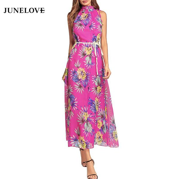 JuneLove 2018 spring women bohemian printed ankle length dress empire turtleneck floral dress sleeveless lace up chiffon