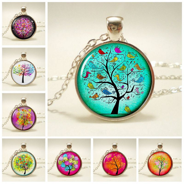 Hot time gemstone life Tree pendant Handmade glass alloy Necklace Colorful life Trees Necklaces Women Fashion Lockets Ladies Jewelry