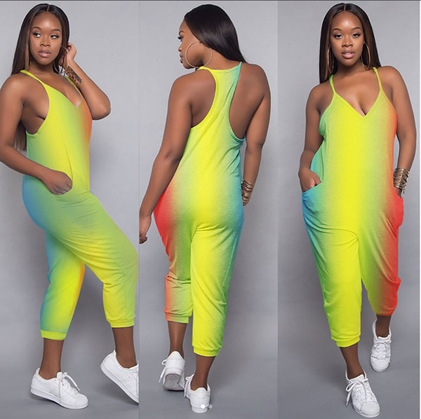 Women's Fashion Sleeveless V-Neckline Rompers Jumpsuits Outdoor Vacation Free Shipping Q112
