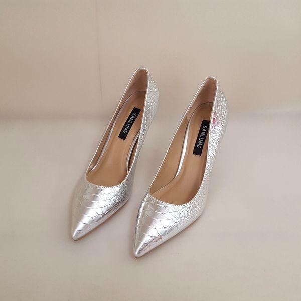 7 سنتيمتر جلد طبيعي كعب خنجر اليدوية أحذية امرأة الجنس عالية الكعب النساء مضخات حزب أشار السحب حجم 35 إلى 39