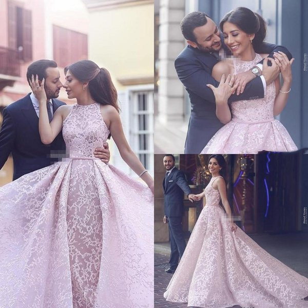 2018 New Arabic Blush Pink Lace Women Formal Evening Dresses Over Skirts Sleeveless Tulle Arabic Beauty Queen Pageant Dress Gowns for Prom
