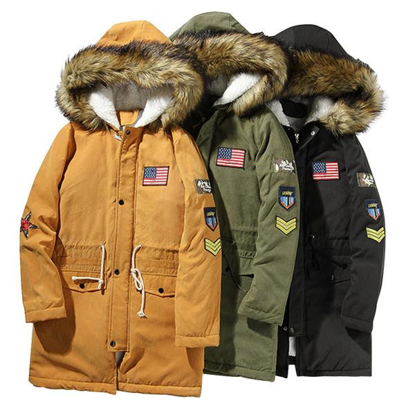 Mens Winter Long Sleeve Hooded Pocket Thickening Pullover Shirt Top Jacket Coat parka kurtka zimowa simple luxury Plus Size
