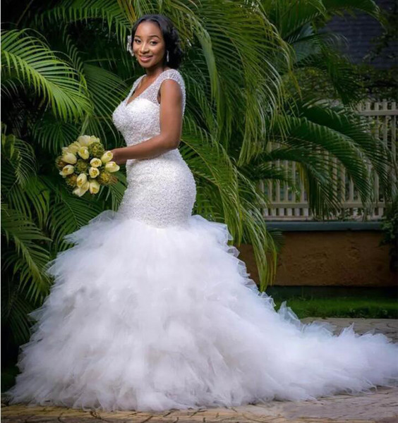 African Style Plus Size Mermaid Wedding Dresses 2019 Sparkly Beaded Deep V Neck Bridal Gowns Robe De Marriage Wedding Gowns For Black Women Australia