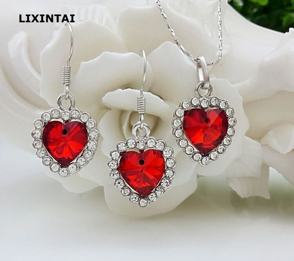 top popular 12 sets lot,The heart of the ocean Necklace Pendant Earring suit Inlaid Austria Crystal Earring From Swarovski Crystal brand jewelry suit 2019