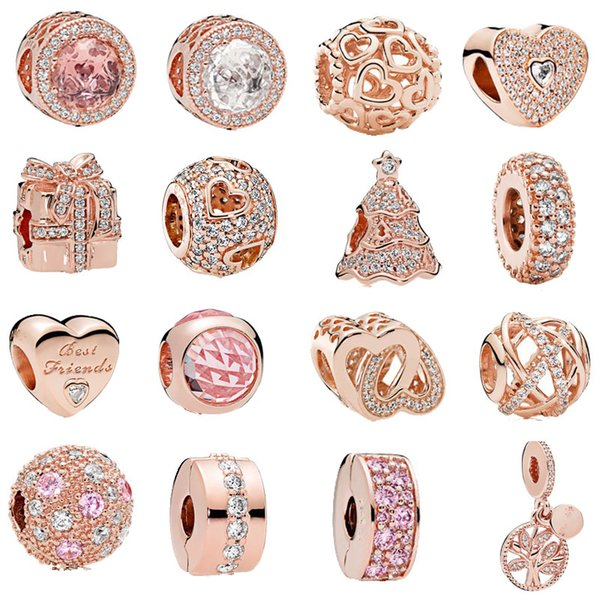 free shipping 1pc rose gold heart family tree spacer clip bead charms Fits European  Charm Bracelets mix040