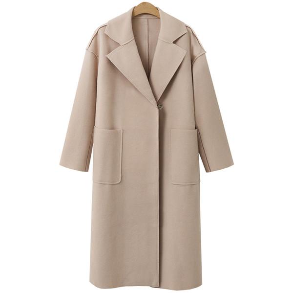 Großhandel Inverno Beige Winter Jacke Lange Outwear Casaco Frauen Solid Mantel Von European Motoshop 2018 Wolle Fashion Wollmantel LpjMGqSzUV
