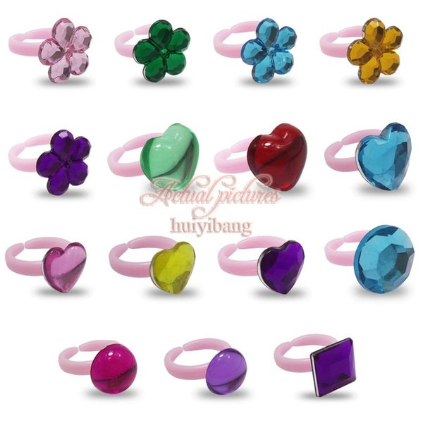 15PCS Cute Plastic Crystal Kids Ring Heart & Flower Pattern Finger Ring Mini Small Charms for Children Party Favor Gifts