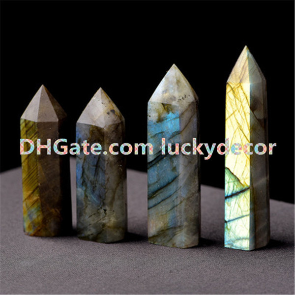 Wiccan Natural Labradorite Quartz Crystal Wand Point Healing Decor Genuine Powerful Gemstone Crystal Standing 6 Facet Single Point Figurine