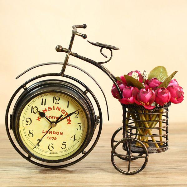 European quartz home decoration tricycle iron art table clock bicycle original clock antique imitation crafts desk