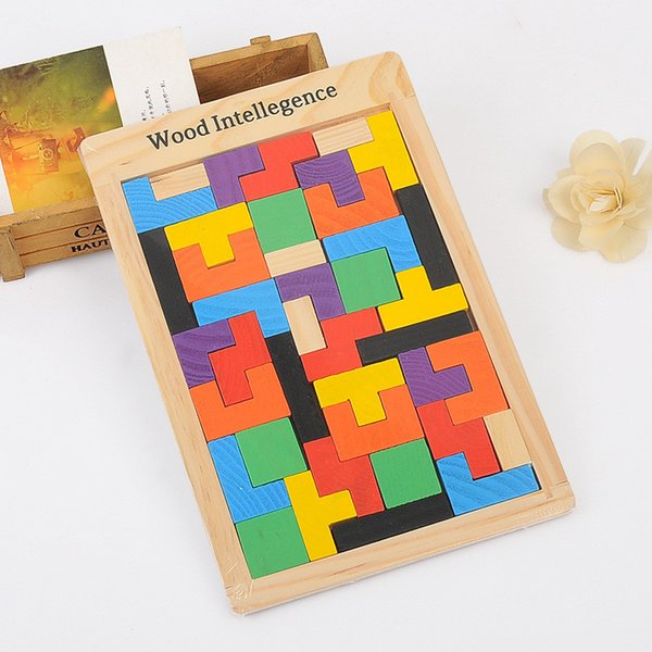 Wooden Educational Toys Kids Bricks Wooden Tetris Puzzle Tangram Jigsaw Brain Teasers Toy Building Blocks Game Colorful Wood Puzzles Box Int