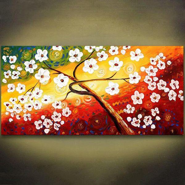 Acheter 1 Panneaux Coloré Fleur Arbre Palette Couteau Peinture Moderne Abstrait Mur Art Toile Peinture Mur Art Photo Pour Le Salon Sans Cadre De
