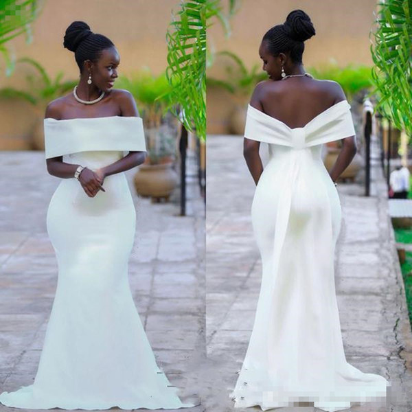 Aso Ebi Simple White Prom Dresses Sexy Off Shoulder Mermaid Evening Gowns Plus Size Chiffon Sweep Train Formal Party Dress Cheap