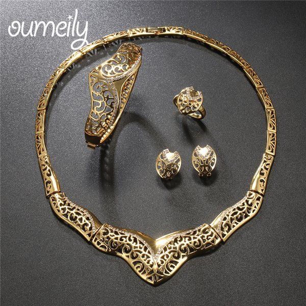 OUMEILY Indian Turkish Jewelry Sets Vintage Women Wedding Jewelry Sets For Bride Geometric Gold Color African Beads Set