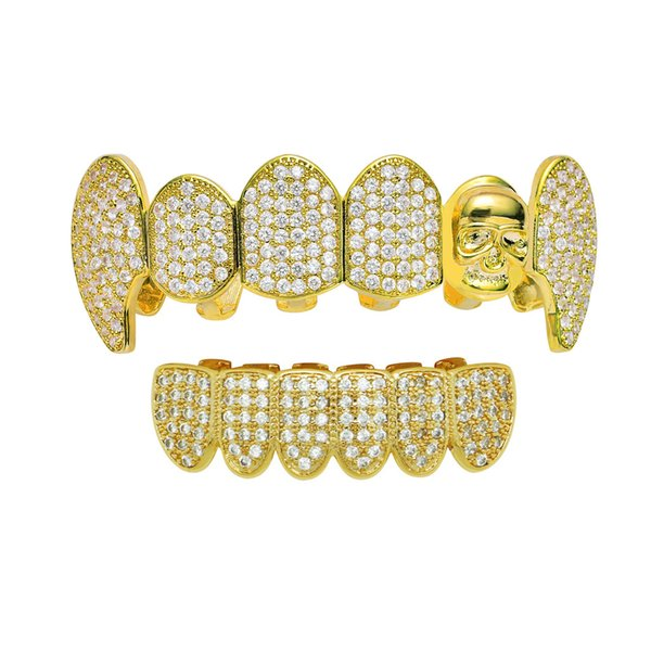 Hip Hop Micro Pave New Style Fangs Jesus Teeth Grillz With Bling Cubic Zirconia Stone Men Women Vampire Grills