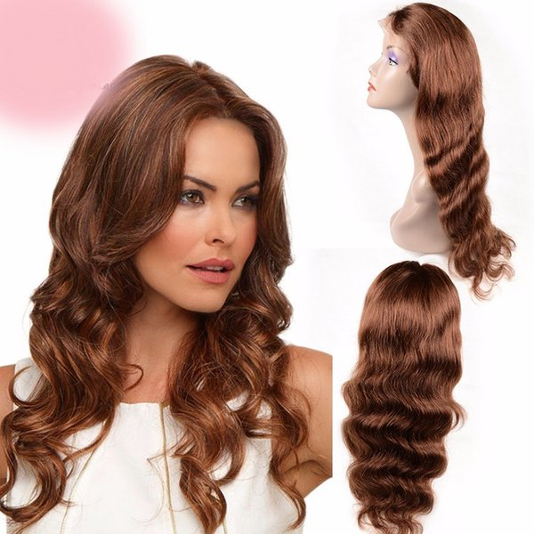 Fashion top 100% unprocessed virgin remy human hair long #33 colorful long body wave full lace wig cheap for women