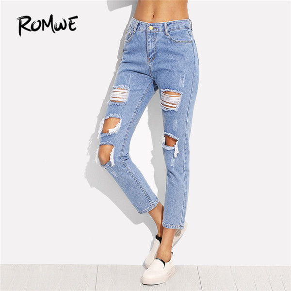 Distressed Ankle Jeans 2018 Spring Blue Patch Ripped Denim Cropped Pants Women Mid Waist Sexy Casual Pencil Jeans