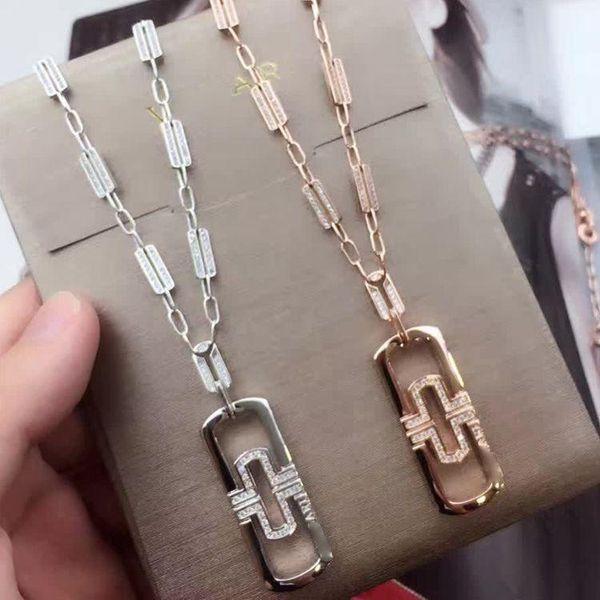 Vente chaude 316L titane en acier collier avec clip creux et pendentif en diamant en 70 cm longueur collier pour femmes marque bijoux livraison gratuite ps5
