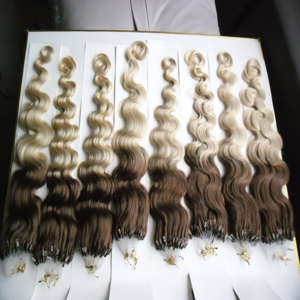 Micro Ring Machine Made Remy Hair Extension 100% Human Hair Body wave Ombre T2/613 Color Micro Links 1g/s 100g